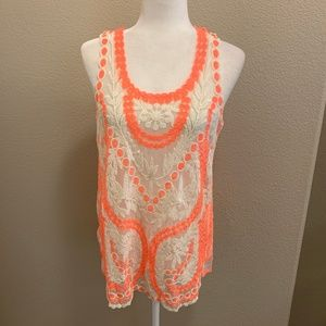 Blu Pepper Neon Pink / Cream Embroidered Lace Top